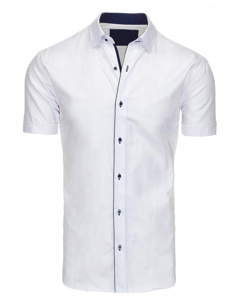 Koszula męska elegancka z krótkim rękawem biała (kx0747  mYnvj