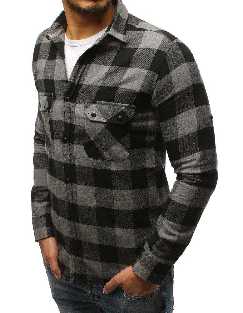Koszula męska w kratę szaro czarną DX1694 sklep online  Iapvp
