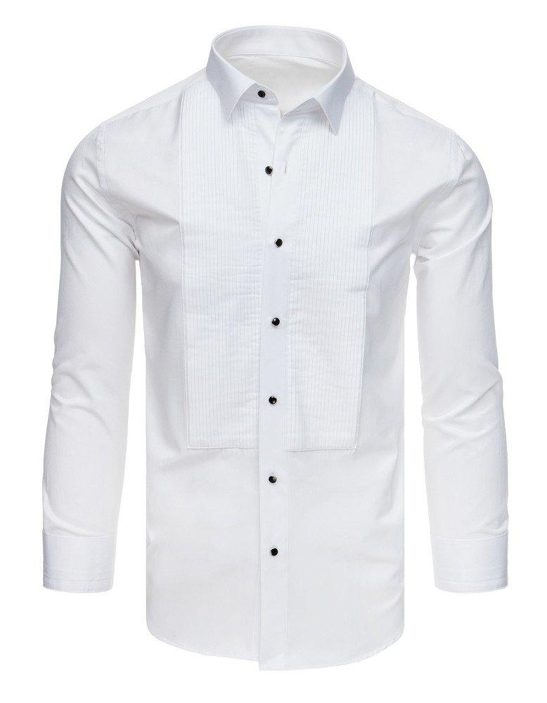 94d09252e9e71c Koszula smokingowa z plisami biała (dx1742) - sklep online Dstreet.pl