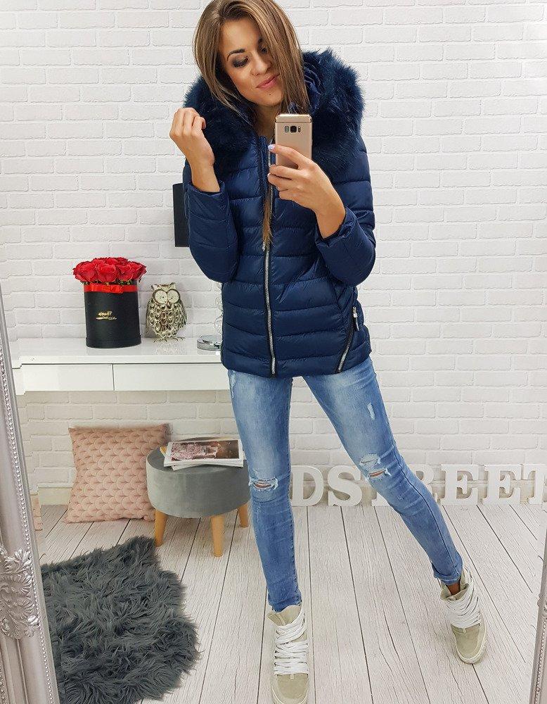 Kurtka CLARISA damska zimowa pikowana z kapturem granatowa TY0290