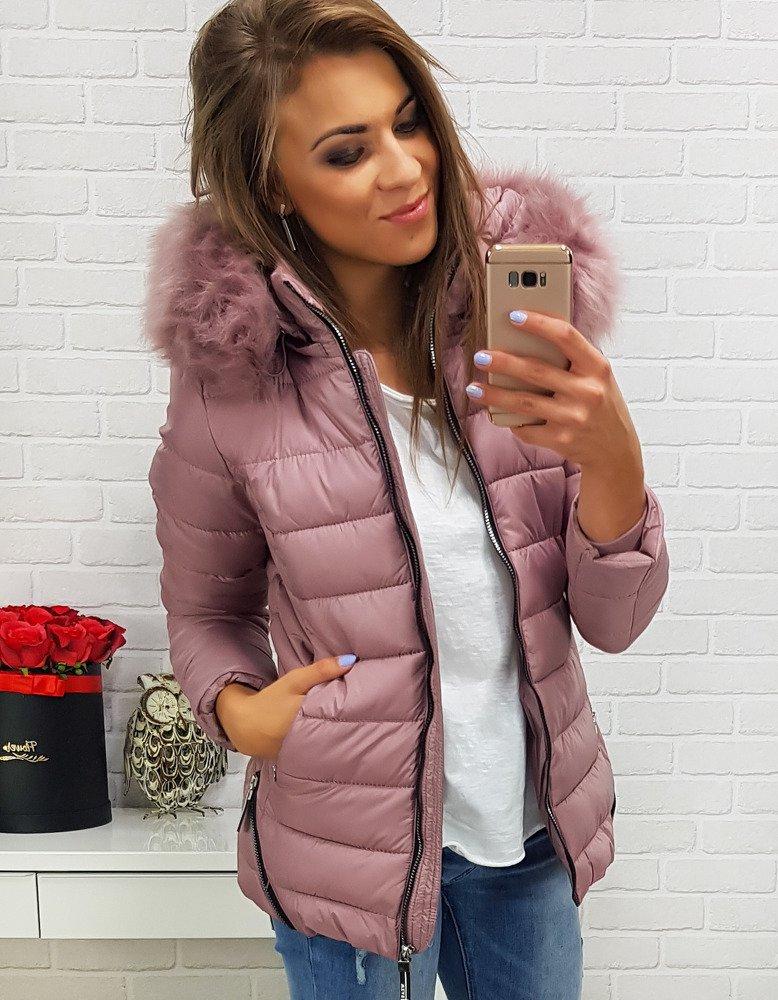 Kurtka CLARISA damska zimowa pikowana z kapturem różowa TY0289