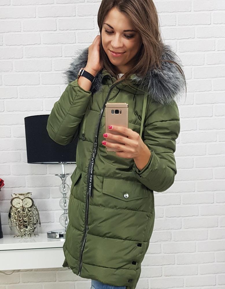 Kurtka damska CUARTO zimowa pikowana z kapturem zielona (ty0360 ...