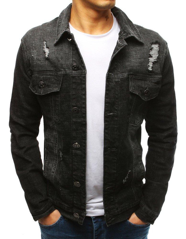 878c46a3b483b Kurtka męska jeansowa czarna (tx2637) - sklep online Dstreet.pl