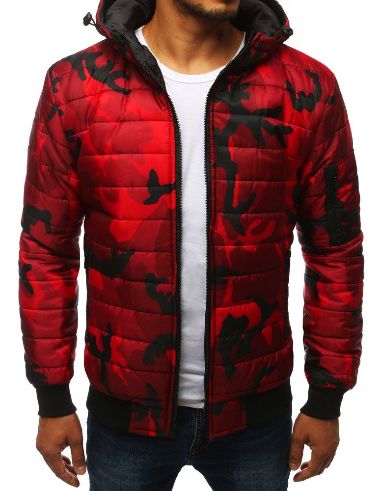 Kurtka męska pikowana bomber jacket moro czerwona TX2722