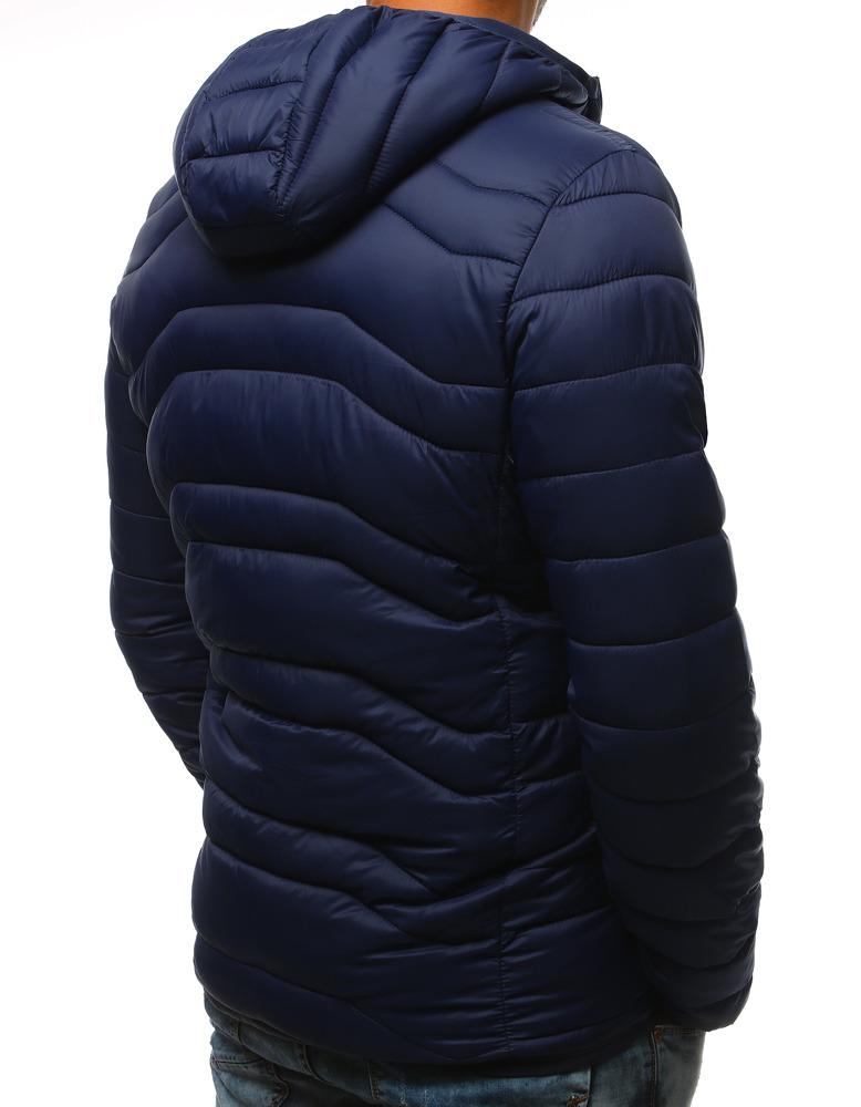 Granatowa pikowana kurtka męska z kapturem