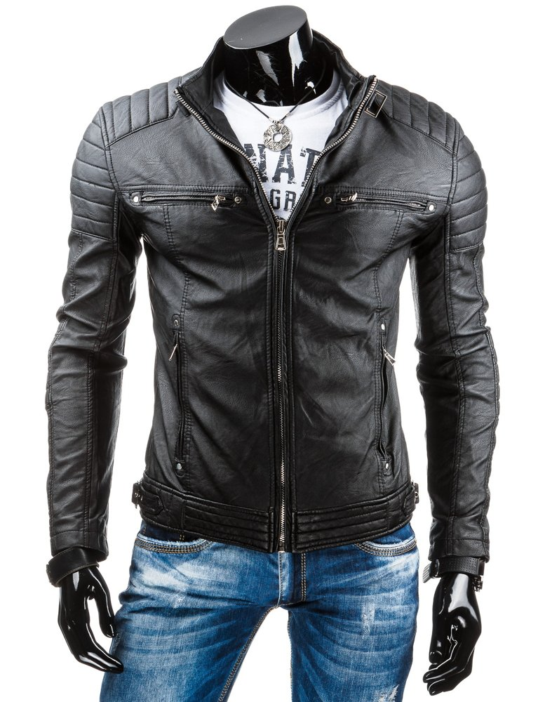 3774a9dceb237d Kurtka męska skórzana czarna (tx2643) - sklep online Dstreet.pl