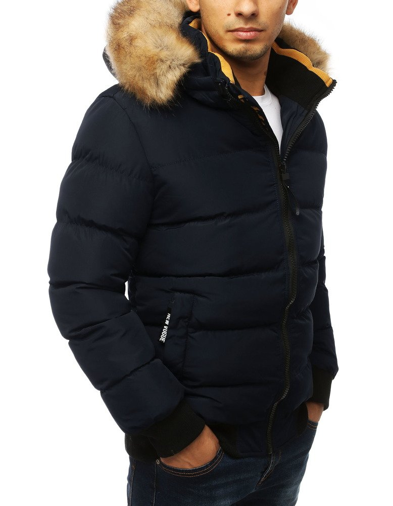 Pikowana zimowa kurtka z kapturem