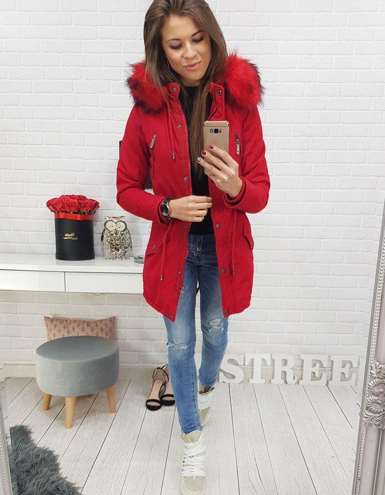 de88e222986c Kurtka parka STONE RED damska zimowa czerwona (ty0442) - sklep ...