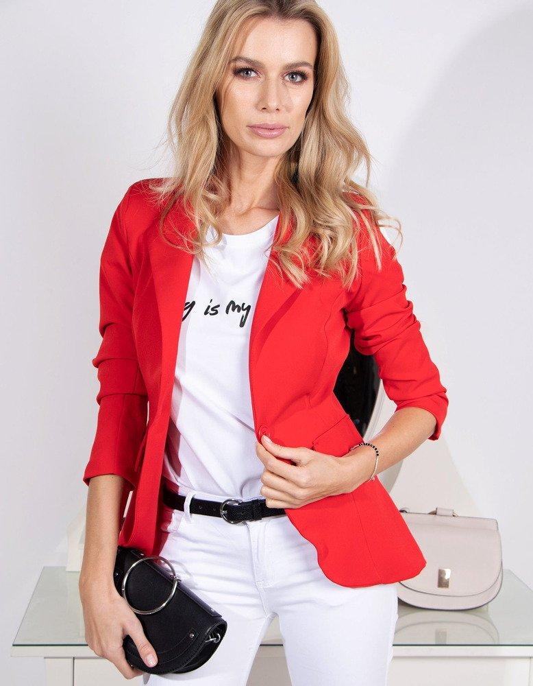 162ba383f3543 Marynarka damska LOVE czerwona (py0016) - sklep online Dstreet.pl