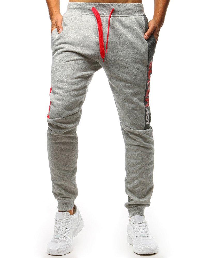 571e3488 Spodnie dresowe męskie szare (ux1399)