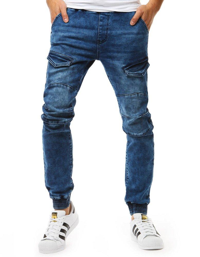 Spodnie joggery męskie denim look niebieskie UX1904