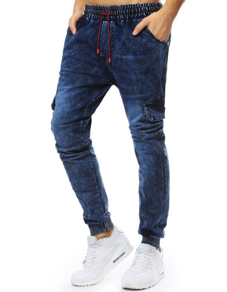 Spodnie męskie denim look joggery granatowe UX2212