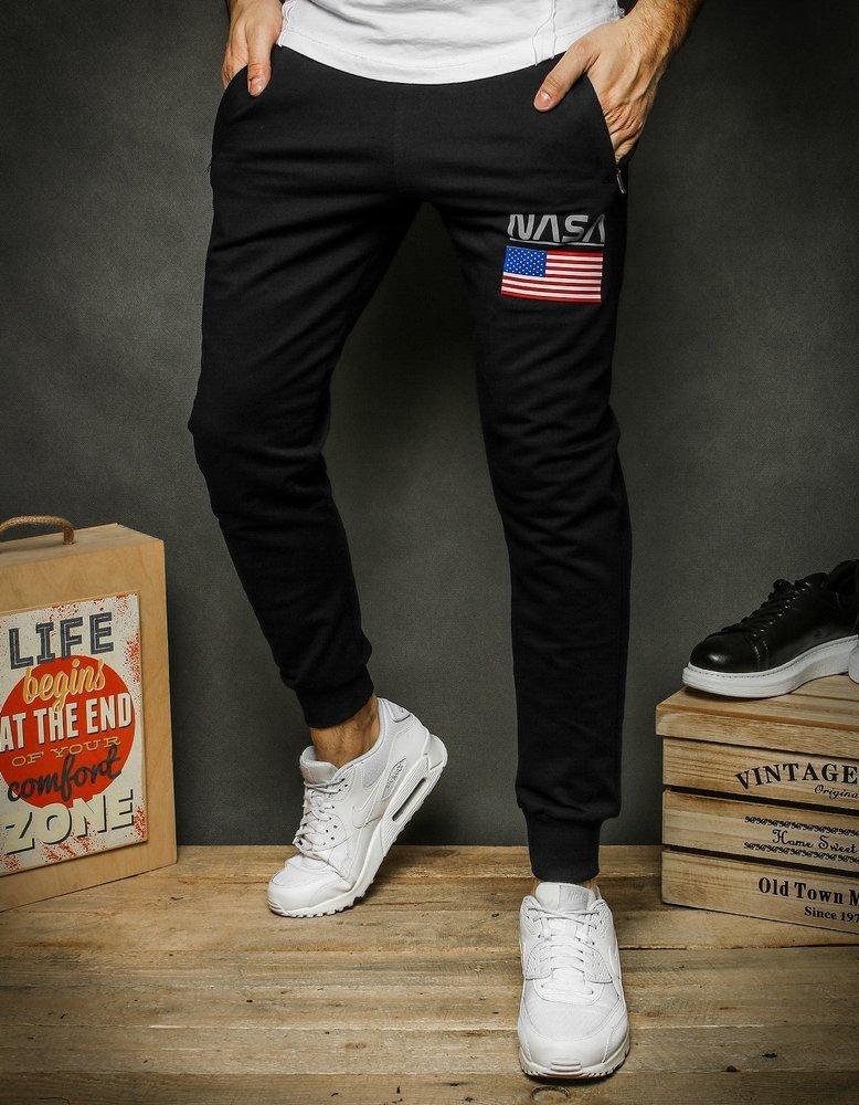 Spodnie męskie dresowe joggery NASA czarne UX2406
