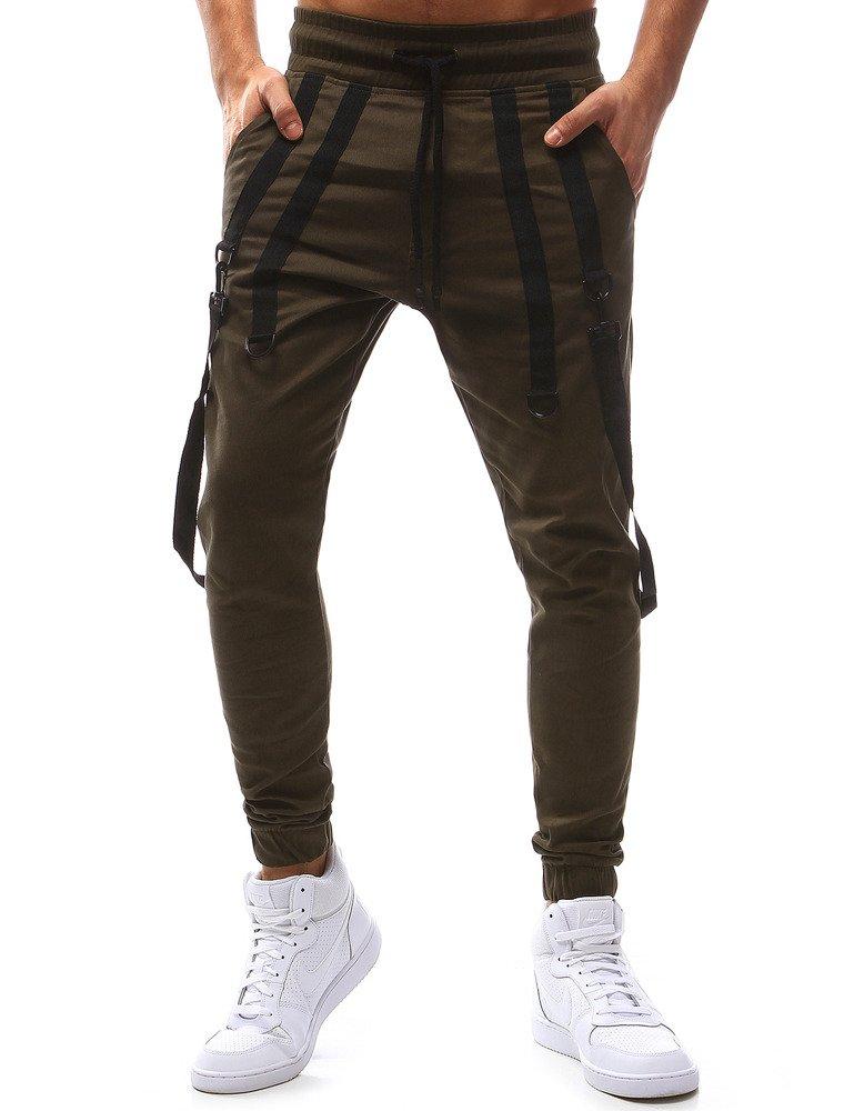 Spodnie męskie joggery brązowe UX1126