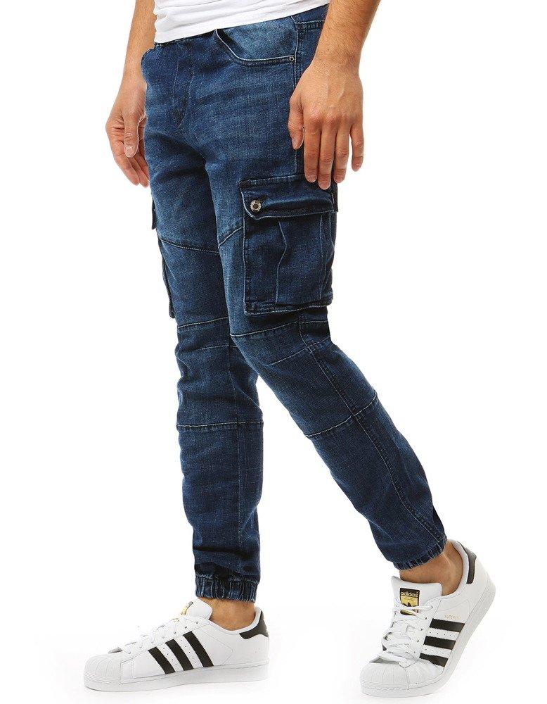 Spodnie męskie joggery denim look niebieskie UX1892