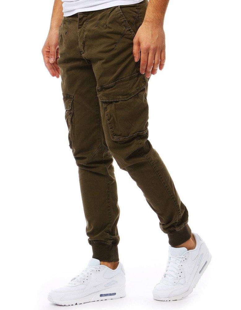 Spodnie męskie joggery jeansowe zielone UX1827