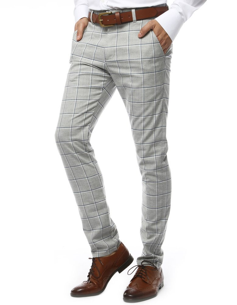 Spodnie męskie w kratę jasnoszare UX2144