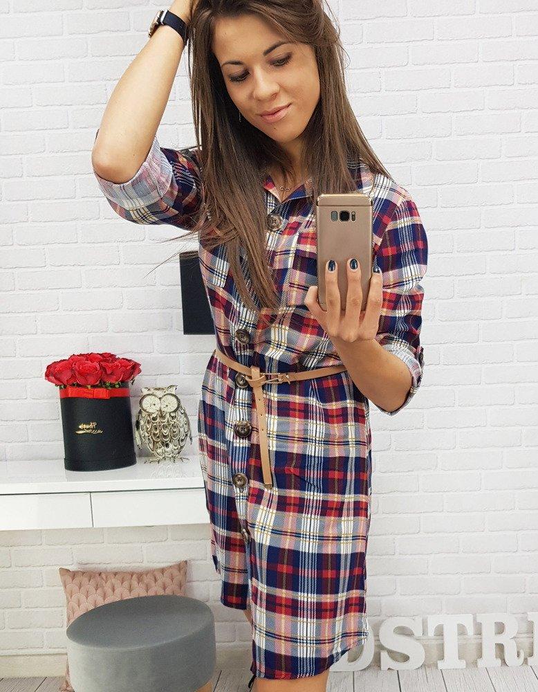 8c44038c79 Sukienka w kratę granatowo-czerwona (ey0525) - sklep online Dstreet.pl