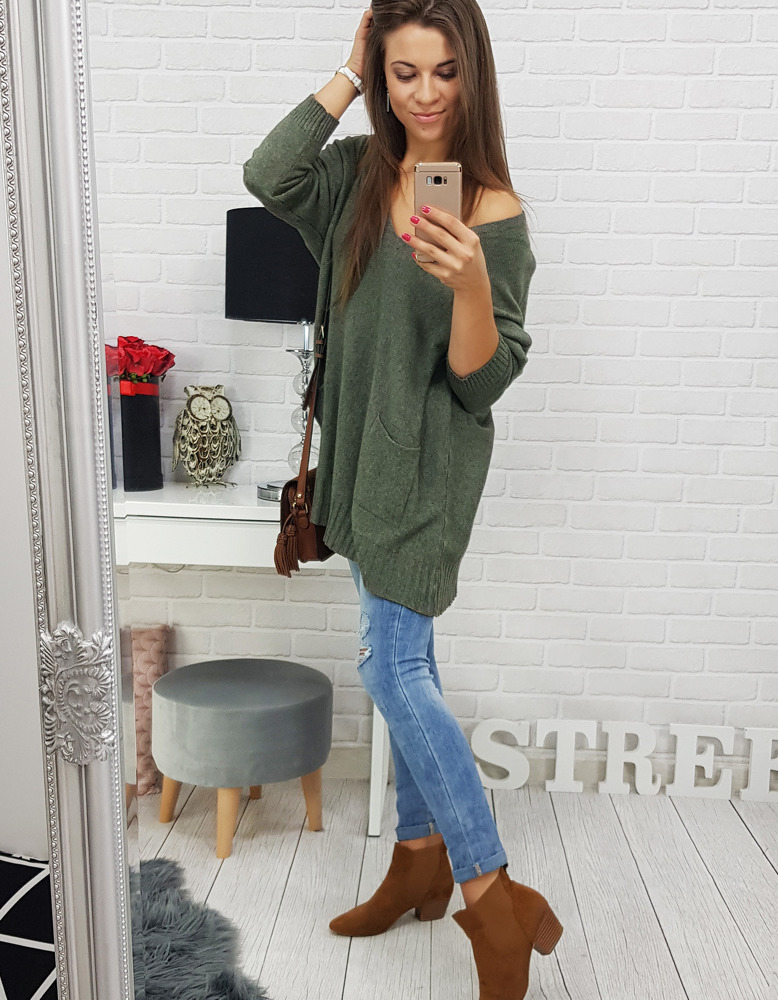 58efdb7da4b750 Sweter damski IVETTE khaki (my0268) - sklep online Dstreet.pl