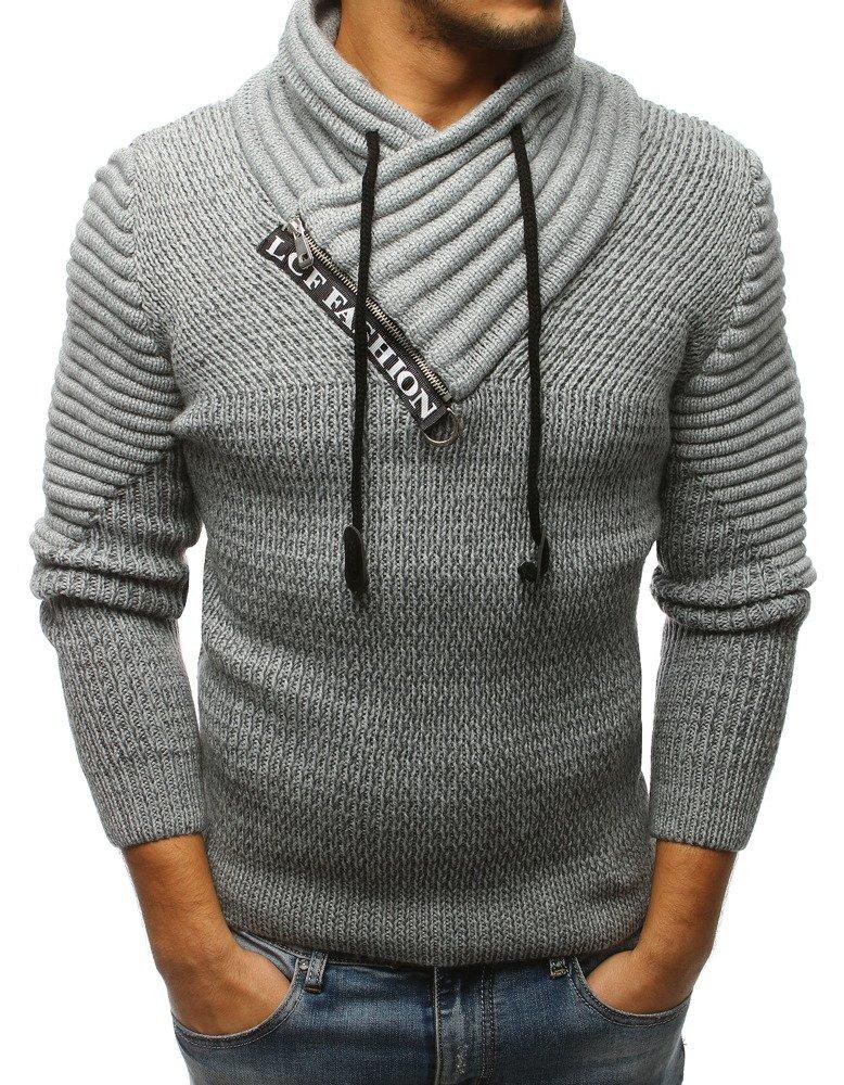 e6355b029b7c68 Sweter męski szary (wx1238) - sklep online Dstreet.pl
