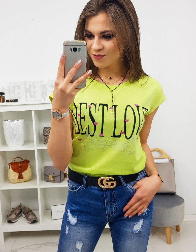 d44fe125c T-shirt damski BEST LOVE z nadrukiem limonkowy (ry0859) - sklep ...