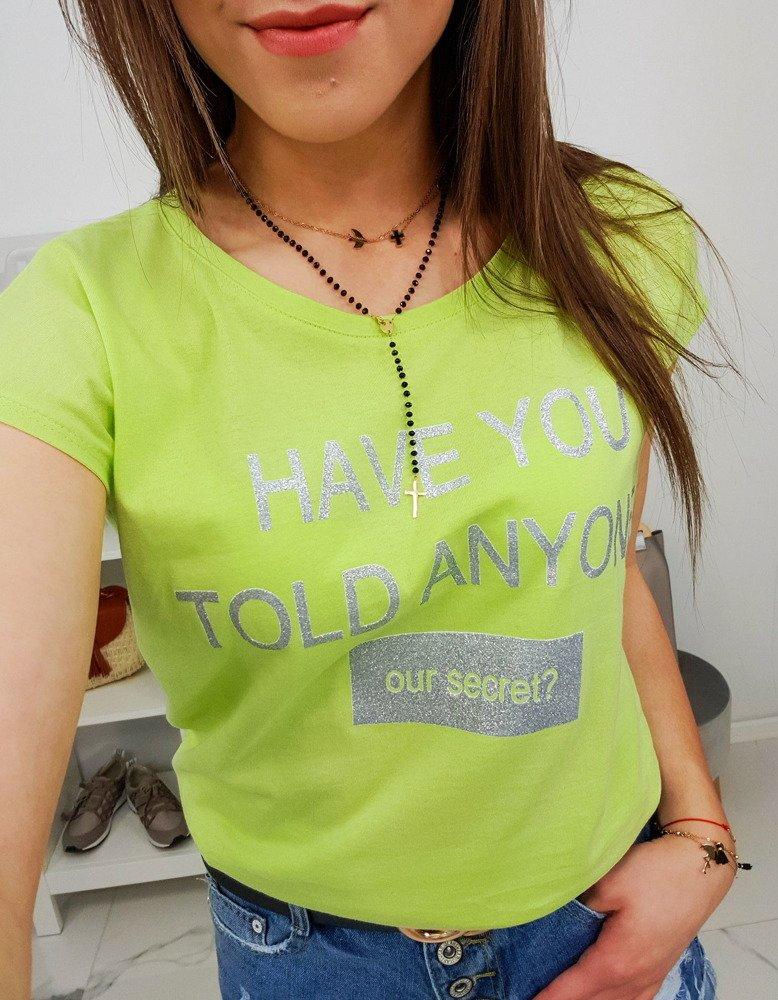 1fed4d593 T-shirt damski SECRET z nadrukiem limonkowy (ry0839) - sklep online ...