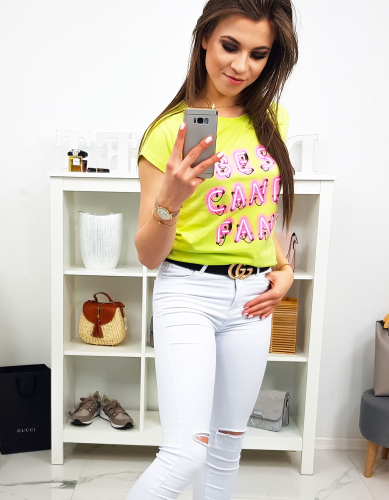 701ecee1b T-shirt damski z nadrukiem limonkowy (ry0818) - sklep online Dstreet.pl