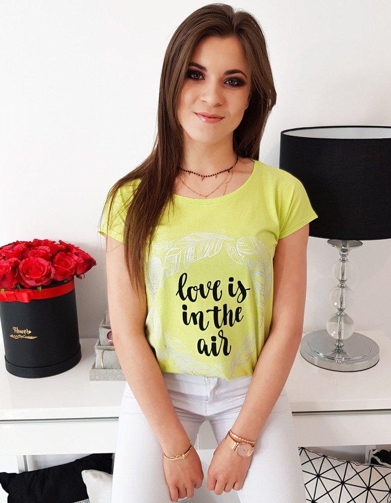 f9d94f787 T-shirt damski z nadrukiem limonkowy (ry1050) - sklep online Dstreet.pl