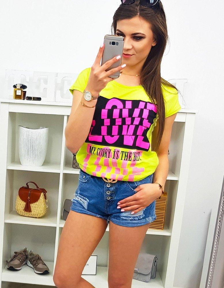 3a180a8a8 T-shirt damski z nadrukiem limonkowy (ry1095) - sklep online Dstreet.pl