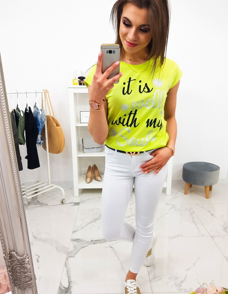 bae8ea9fe T-shirt damski z nadrukiem limonkowy (ry1105) - sklep online Dstreet.pl
