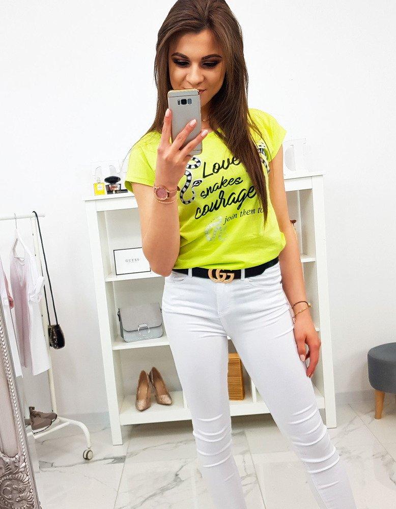 1553ba97a T-shirt damski z nadrukiem limonkowy (ry1163) - sklep online Dstreet.pl
