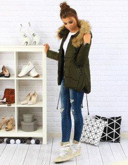 f863da49dfc25 Kurtka damska VALBO pikowana z kapturem oliwkowa (ty0086) - sklep online  Dstreet.pl