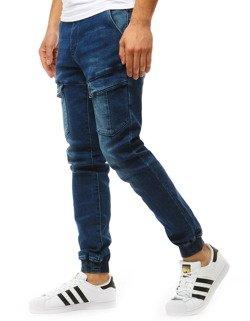 Spodnie joggery męskie denim look niebieskie UX1893
