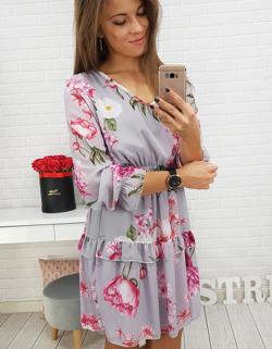 9f1e24cc6e9681 Sukienka ROSE w kwiaty szara (ey0491) - sklep online Dstreet.pl